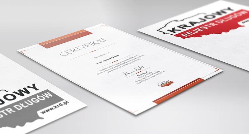Certyfikat Krajowego Rejestru Długów - TNGS Tomasz Karman - Biuro Obsługi Inwestora - Lublin