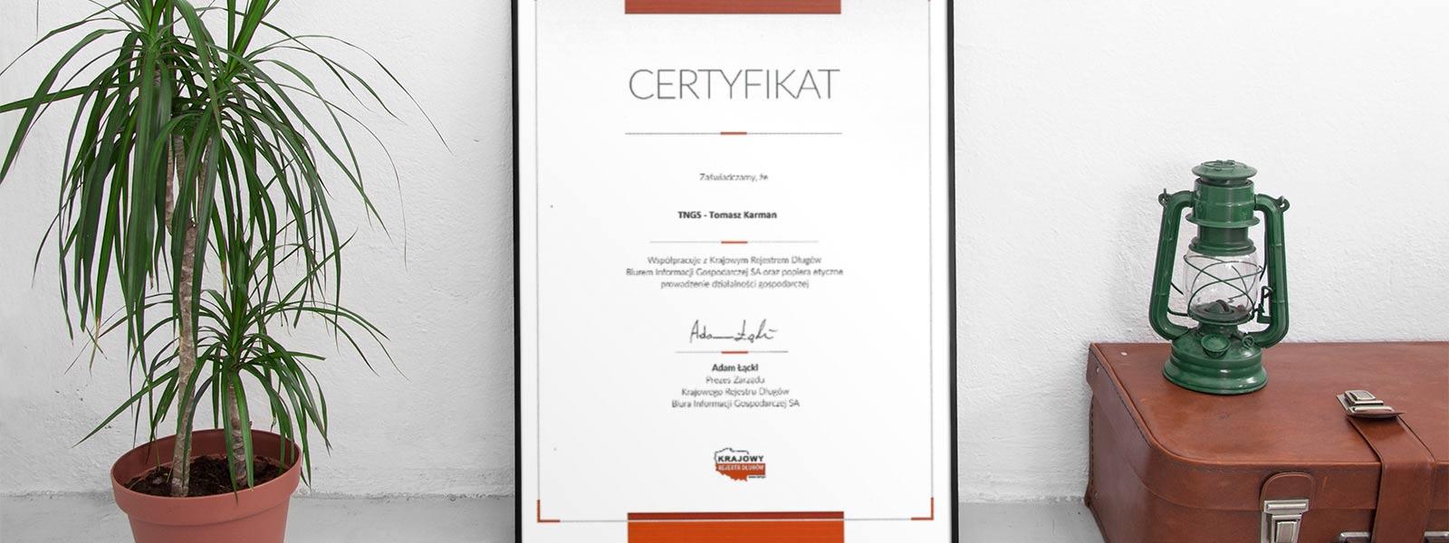 TNGS Tomasz Karman - Certyfikat KRD - TNGS Tomasz Karman - Biuro Obsługi Inwestora - Lublin